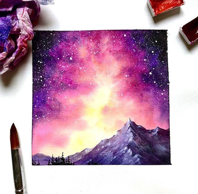 水彩風景小插畫,夢幻的星空,好美