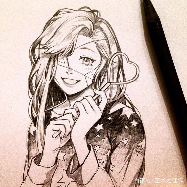 黑白手绘美少女插画,喜欢这个画风,好好看