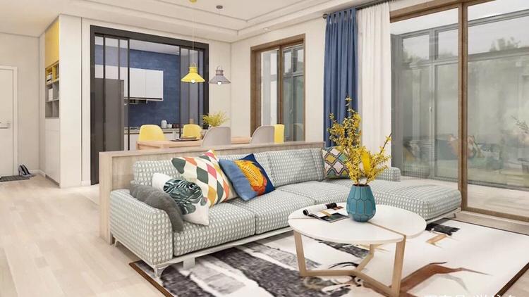 90平小三房浅木色风格装修,设计师巧妙加入亮色给空间注射活力