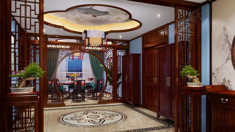 除了玄关装修,过厅走廊的中式设计也不能忽略