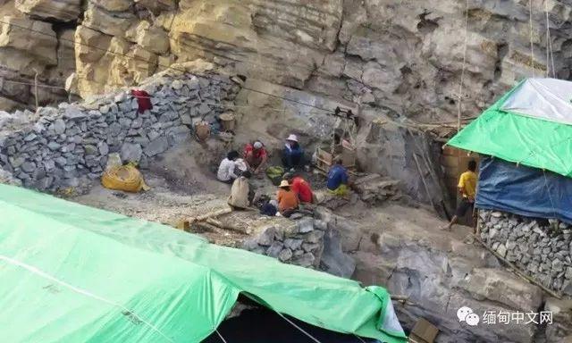 缅甸矿珀开采矿区现场