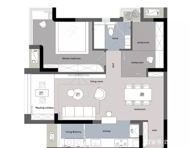 90平,玻璃做隔斷,兩室一廳,臥室沒有床,實用還美好圖片