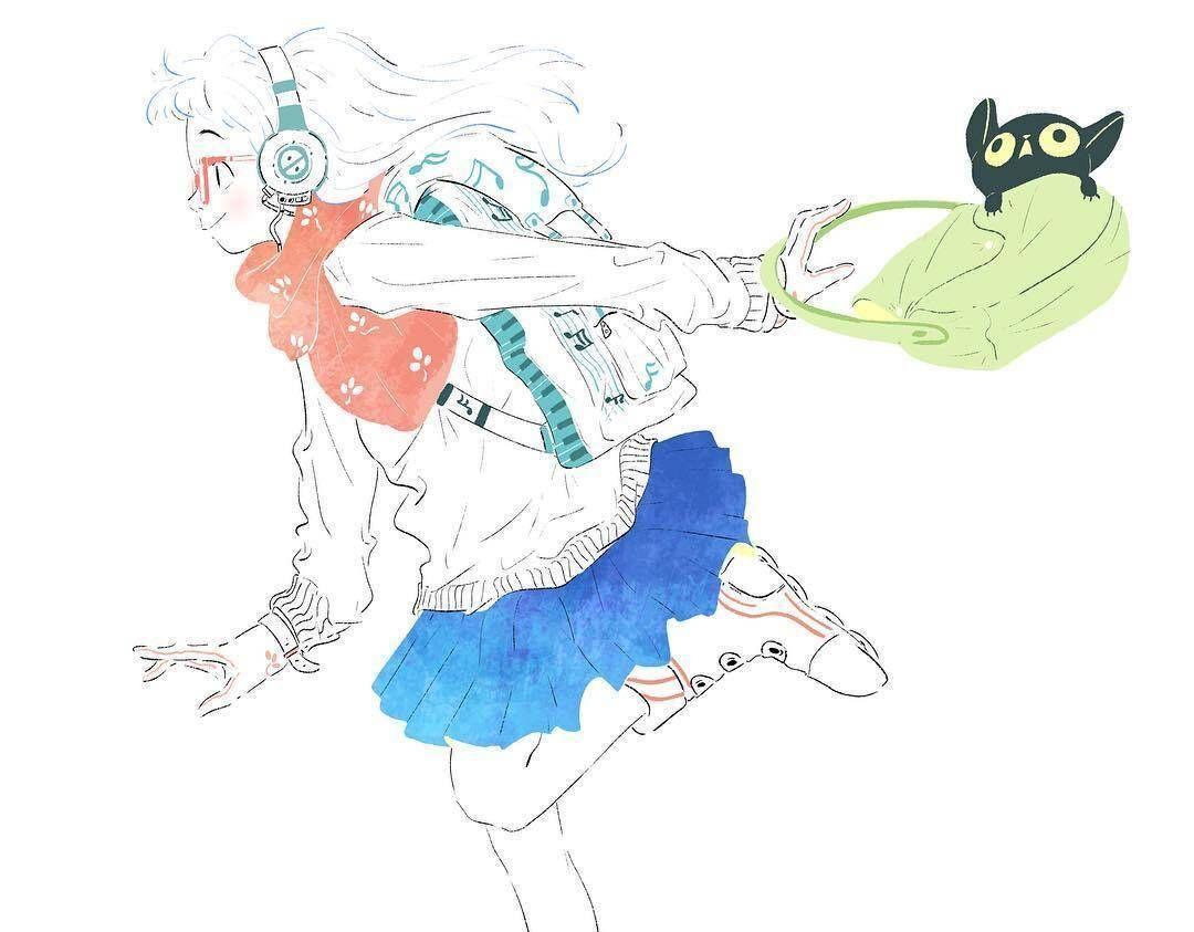 手绘人物插画,一组活力青春美少女插画,戴耳机听音乐的女孩