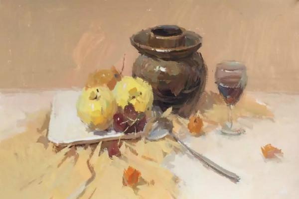水粉画素材集:深色罐子,水果,高脚杯,不锈钢勺子,方形白瓷盘的组合.