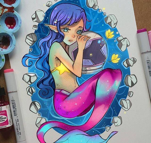 马克笔水彩手绘,荧光色动漫人物,超梦幻