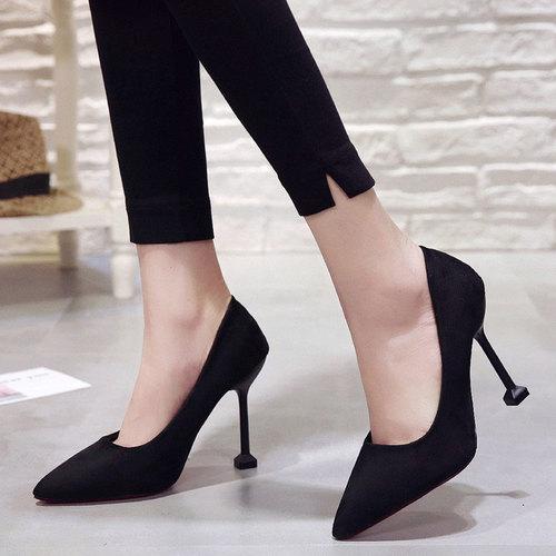高跟鞋女春季2018新款細跟10厘米尖頭百搭公主韓版性感顯瘦超高跟圖片