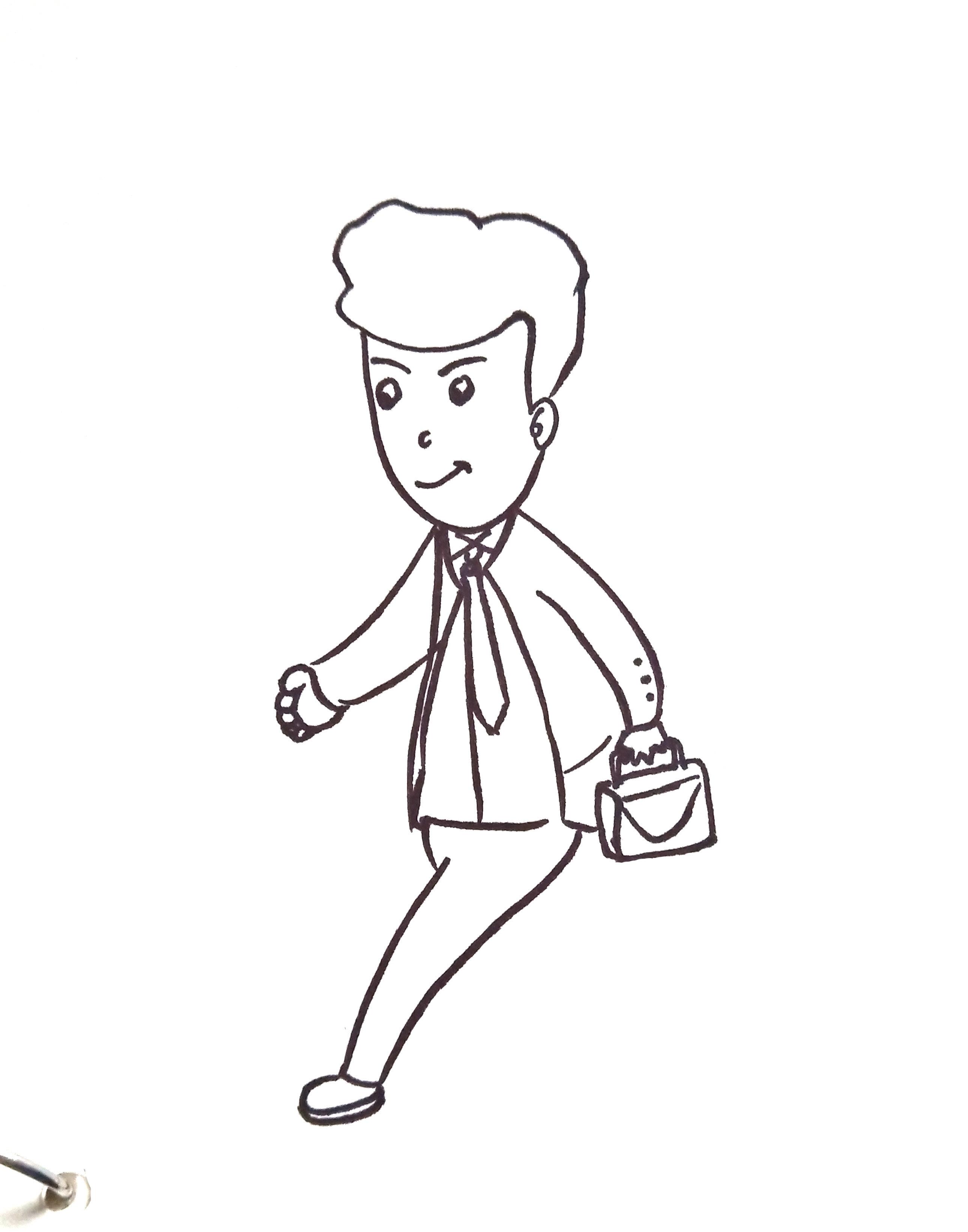 简笔画人物系列:手抄报素材去上班的叔叔