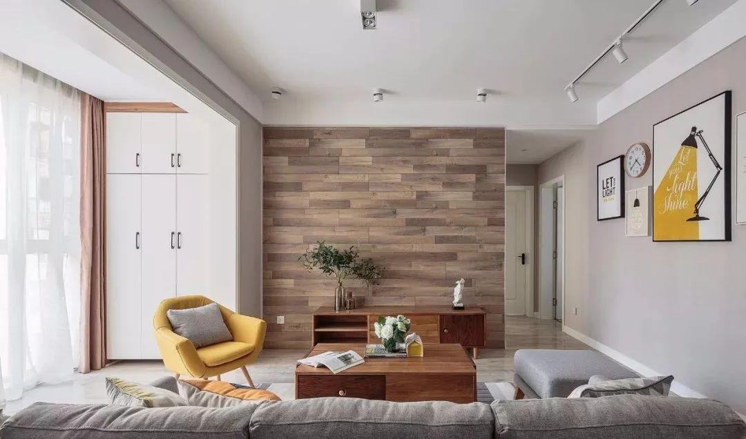 89㎡新房,木板上墙真心好看,玄关柜还可以做餐厅背景墙,超赞