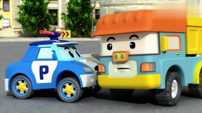 儿童安全教育动画片 变形警车珀利和邓普商量如何弥补凯文