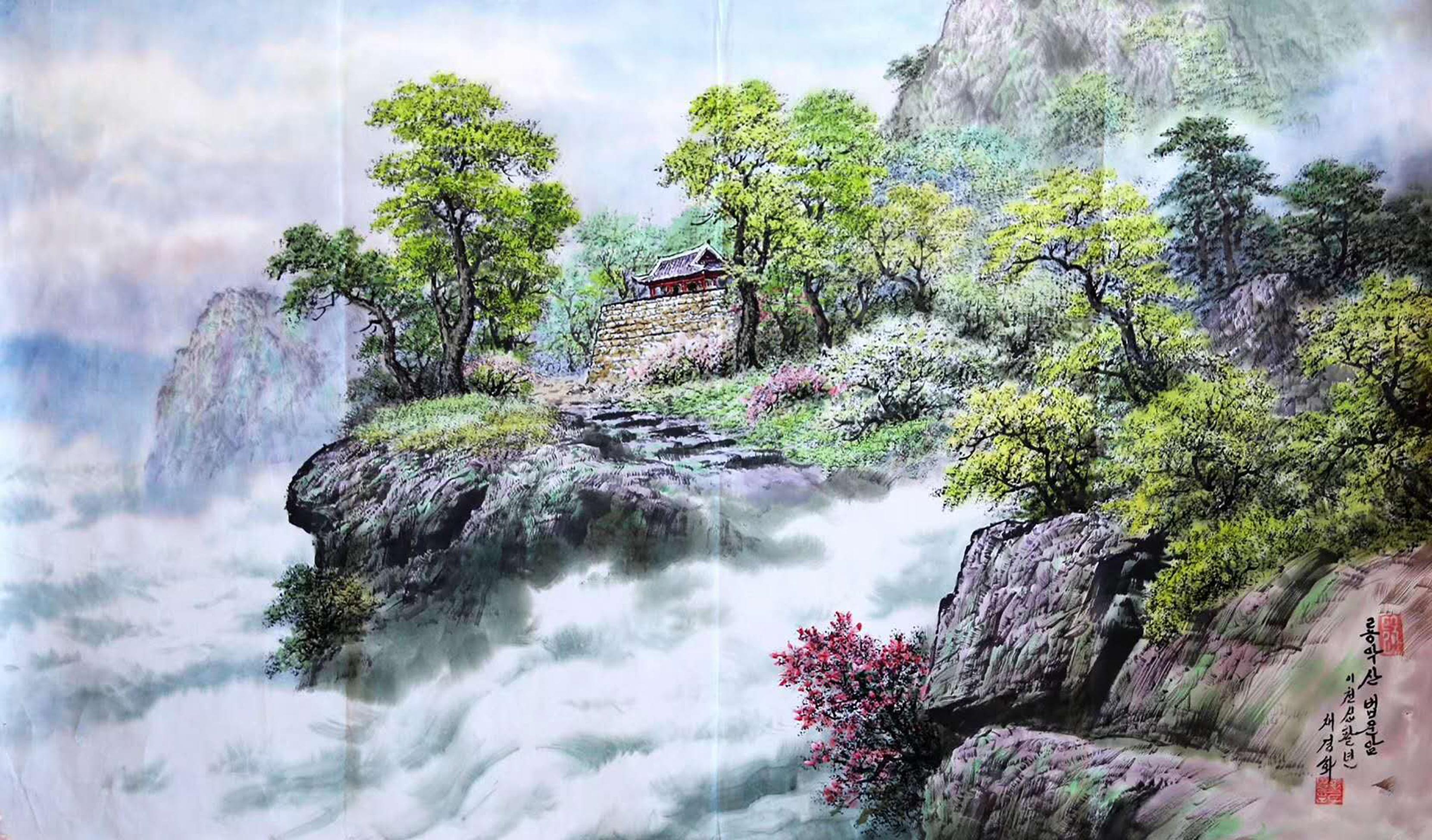 山水画:龙岳山法云寺,境幽禅意彩墨画