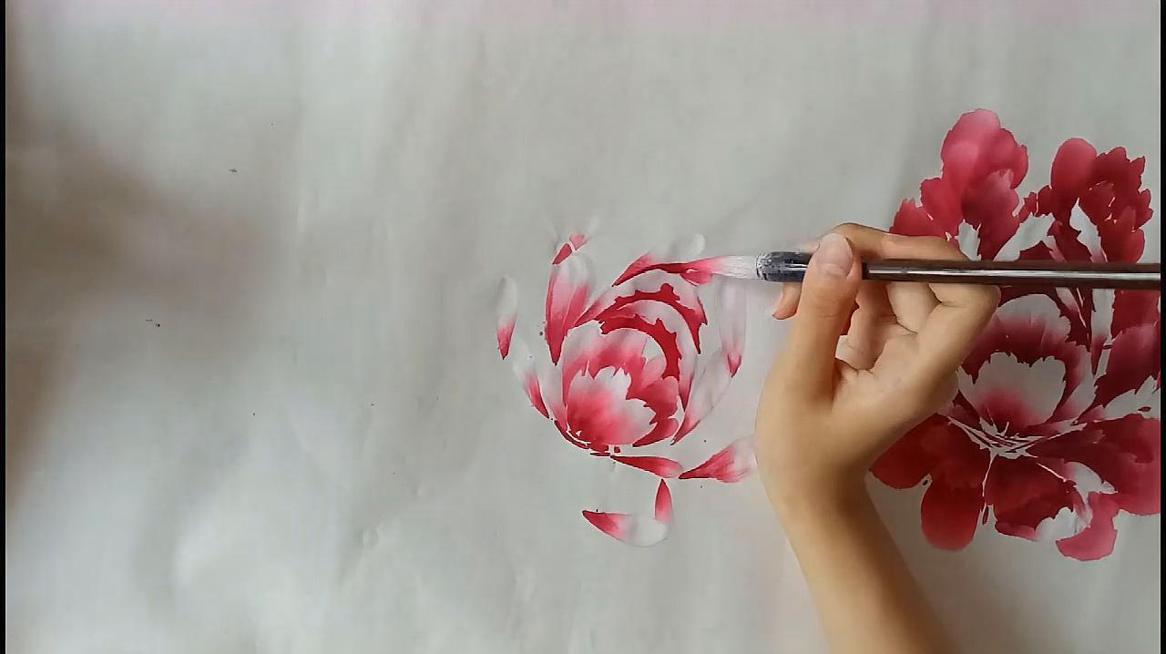 绘画教学:国画牡丹绘画过程,快进播放,收藏后慢慢看