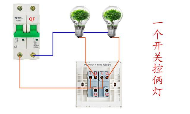 这种后面有6个接线柱的是双控开关,不同品牌的开关标注稍有不同。但是接线的原理都是一样的,首先我们看一下一个开关控制两个灯的接线。  灯控接线的要点:零线进灯火线进开关。两个L公共点连一起接火线,两个L1各连一个灯为控制线。看懂了这个,我们再来了解一下两个开关控制两个灯的接线,也就是双控的接法。 双控的接法