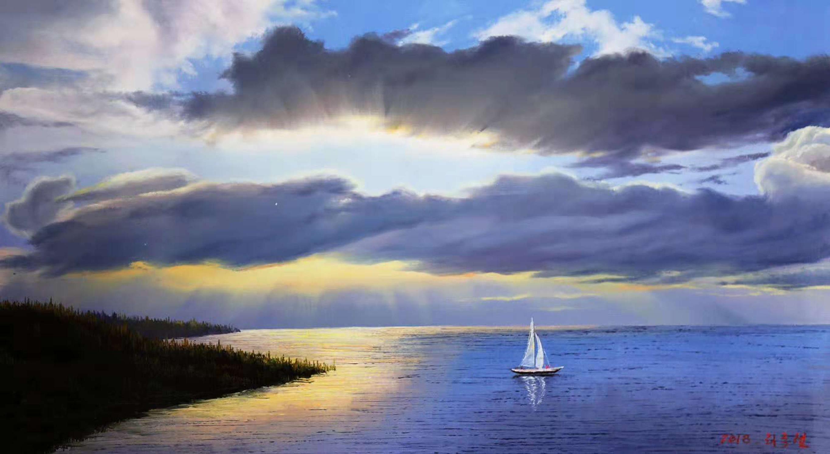 油画风景:画家笔下的一年四季景色,春天的湖水和冬天