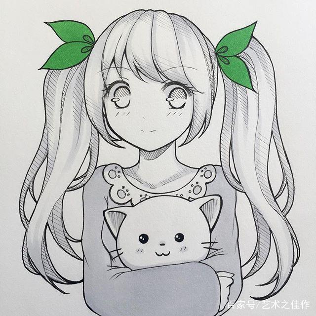 超可爱的手绘动漫美少女,喜欢的求抱走