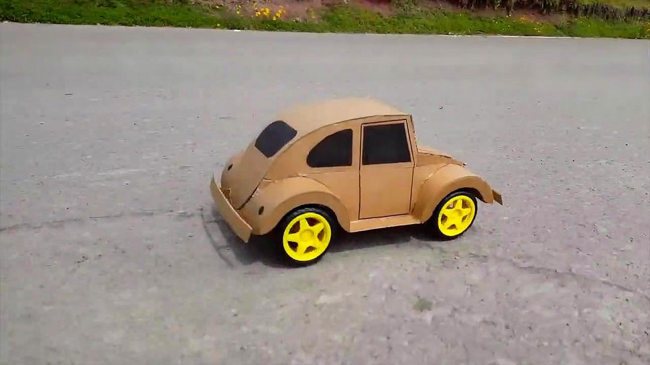 创意手工 如何用纸板给孩子制作甲壳虫小汽车?