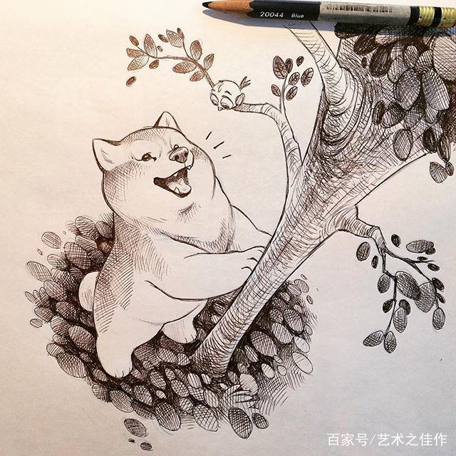 黑白手绘动物,狗狗的日常,超可爱