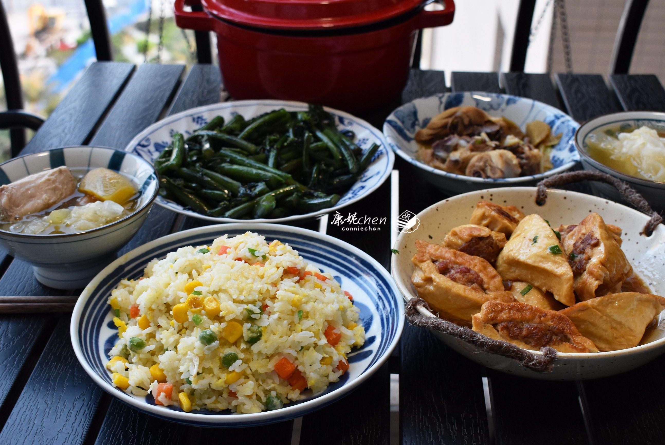 周六老公上班,我在家做了这桌菜,3菜1汤1主食,都是老公爱吃的