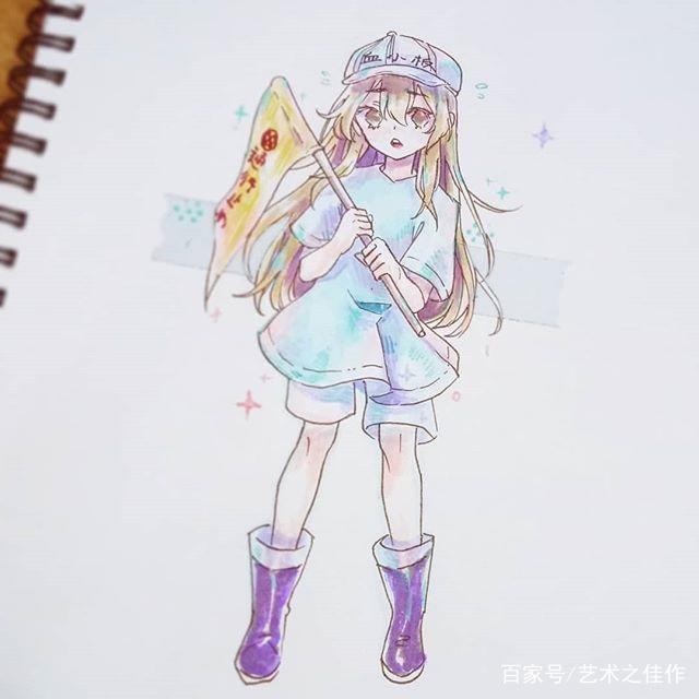 彩笔人物插画,可爱的卡通小女孩,太萌了图片
