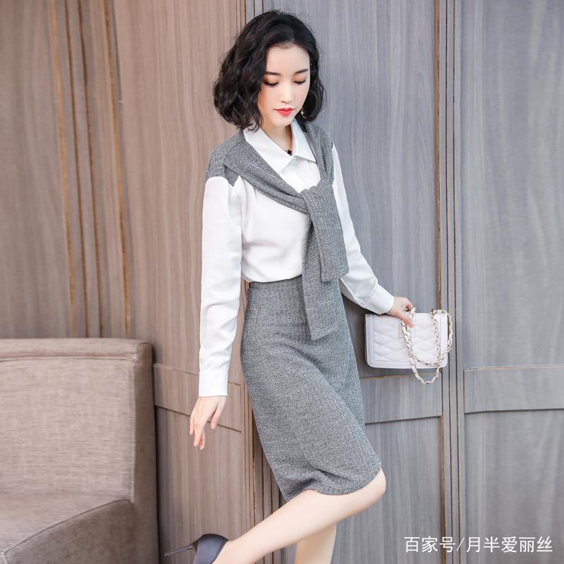针织拼接衬衫包臀修身半身裙,气质两套装针织半裙很有品质感,小a版型