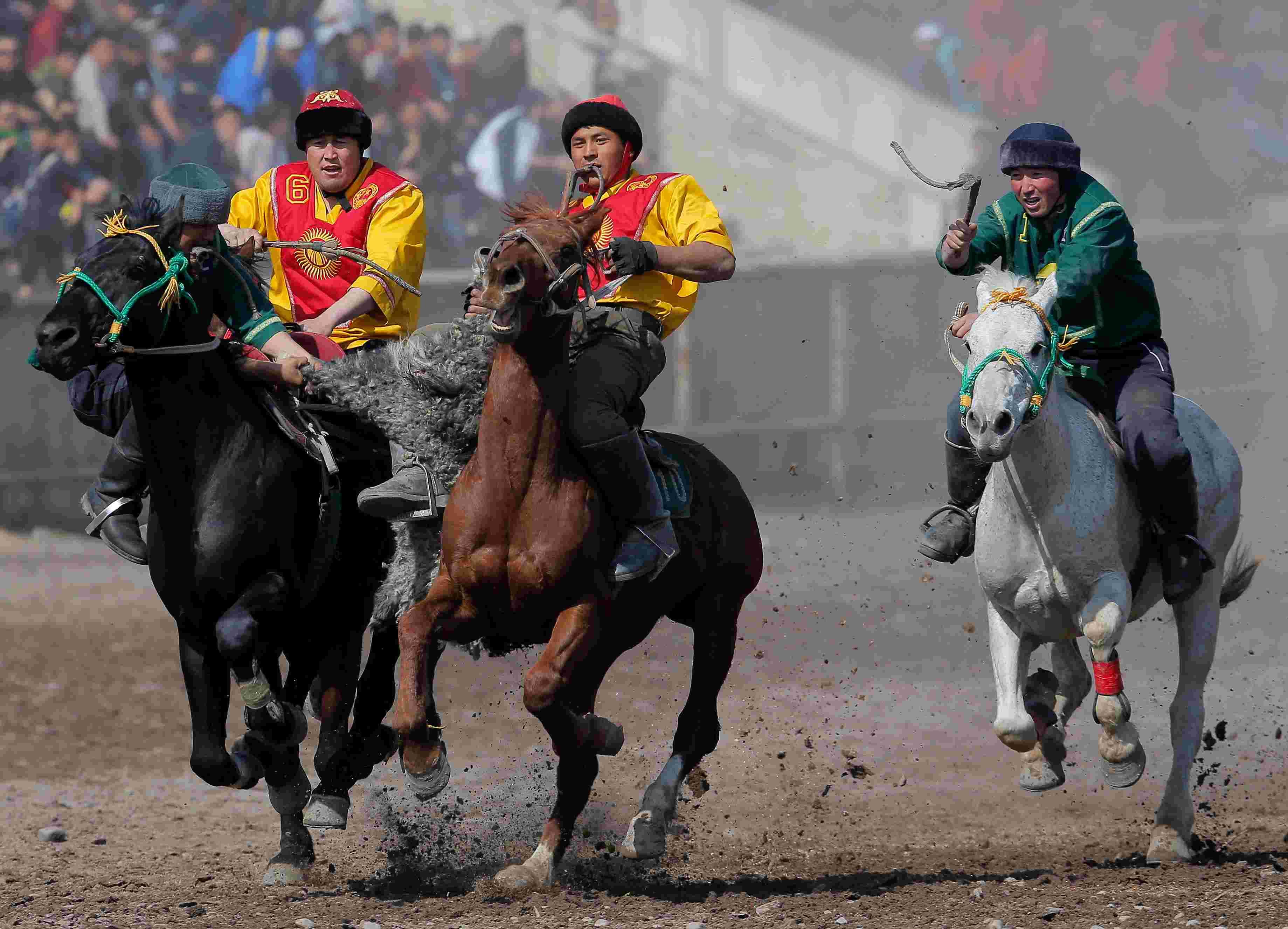 """吉尔吉斯斯坦举办""""马背叼羊""""大赛 骑手飞身夺羊精彩"""