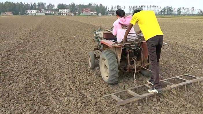 农村妹子变身女汉子,开着农用四轮车耙地,这技术不用考驾照!