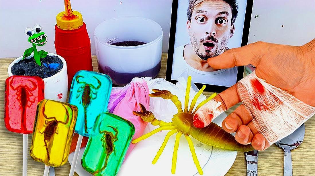 牛人吃史莱姆和蝎子做的蛋糕?创意搞笑假吃,请勿模仿