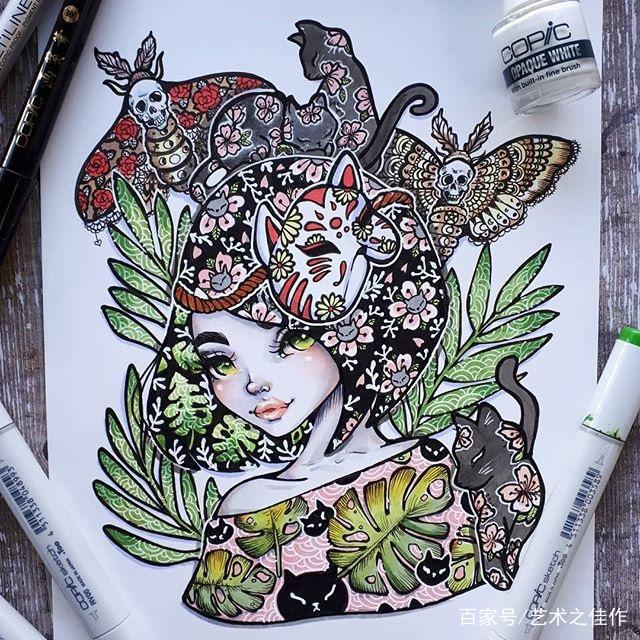 马克笔手绘,超有创意的人物插画,画风好喜欢图片