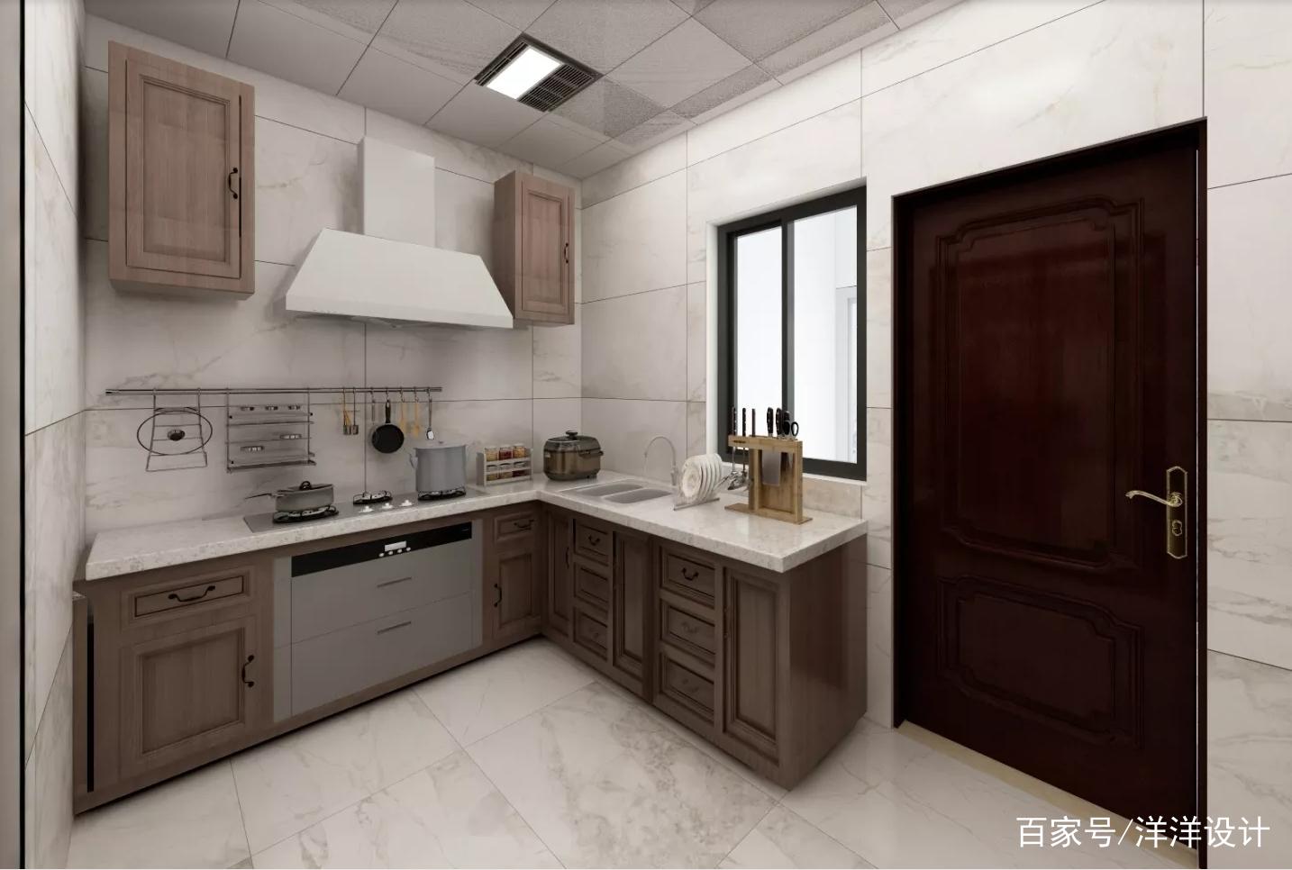 厨房效果图.橱柜使用转角设计,节省空间,台面宽敞,操作方便.
