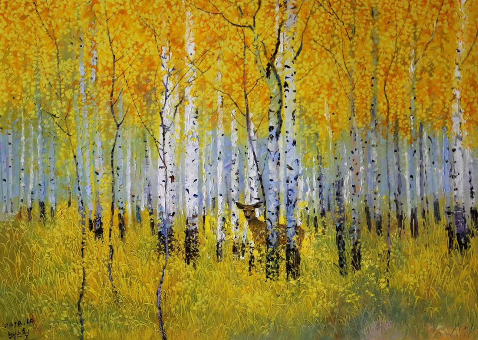 油画风景——白桦林,美丽的风景林