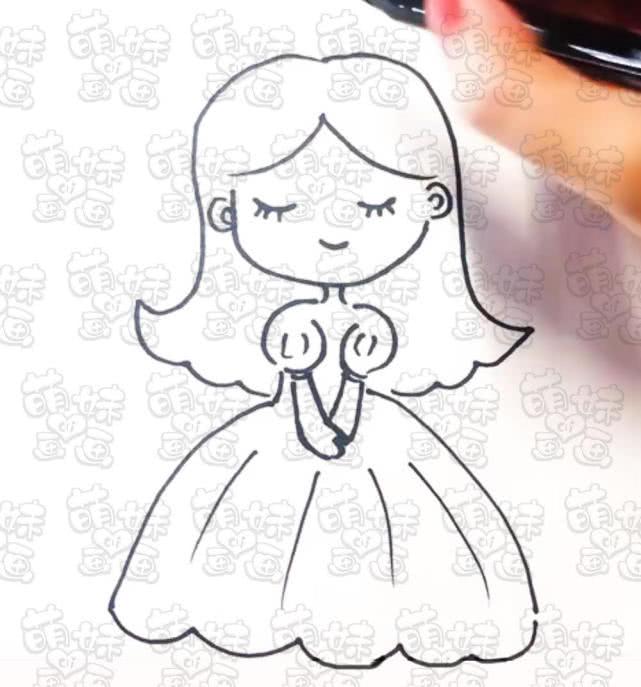学画漂亮又简单的小公主简笔画,可以涂上不同的颜色哦!