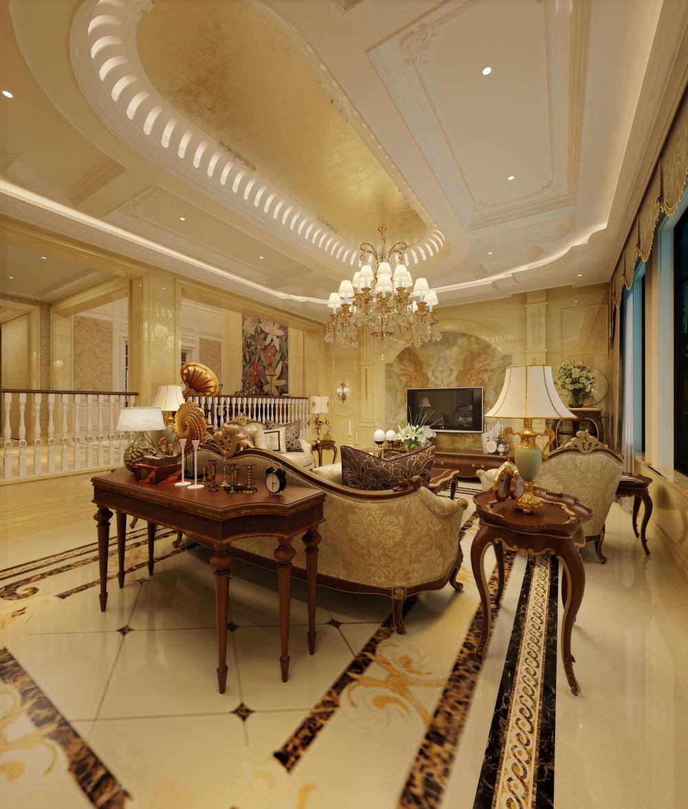 客厅里采用传统的欧式家具,配合地面石材的拼花,仿佛置身异域之中.