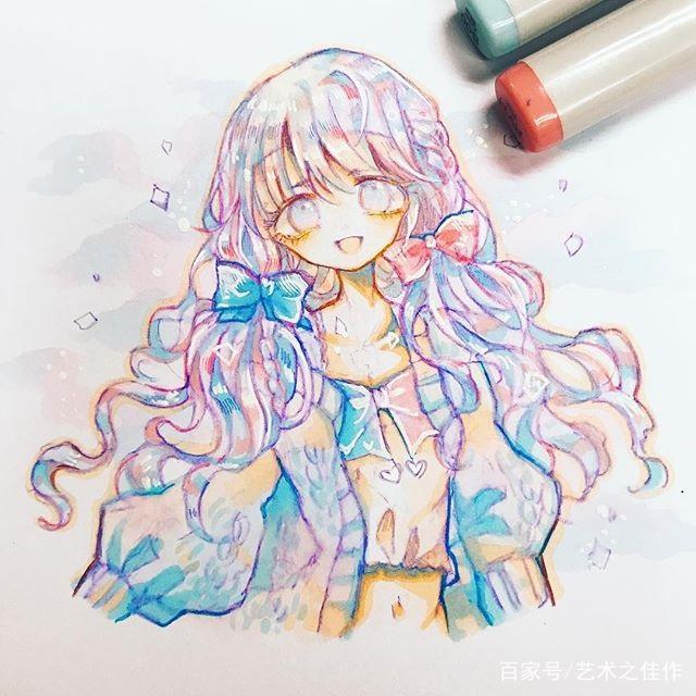 马克笔人物手绘,可爱俏皮的卡通女孩,萌萌的