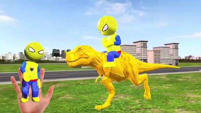 3D卡通蜘蛛侠组团跳舞,骑着大恐龙被小丑整蛊,随后一起变色