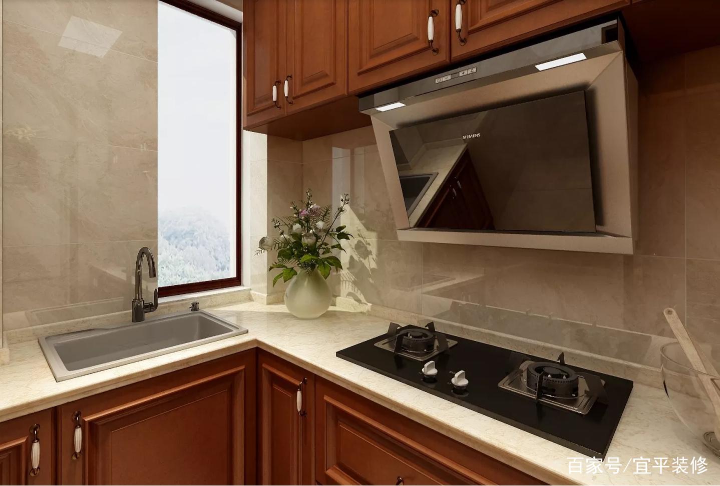 厨房效果图.厨柜使用转角设计,深色橱柜与浅色墙面搭配非常又层次感.