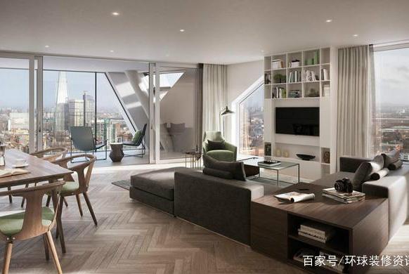 130平高级简约风装修,客厅餐厅厨房一体化设计,空间非常宽阔