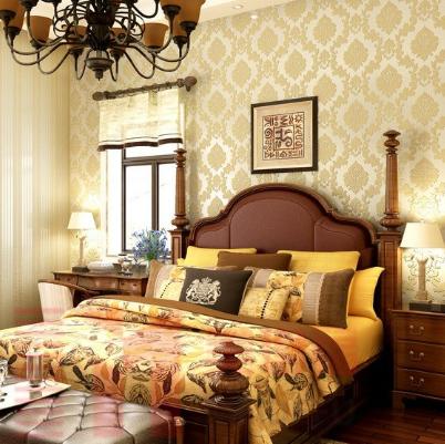 欧式壁纸奢华 客厅大马士革墙纸无纺布卧室 ab搭配3d立体浮雕 无纺精