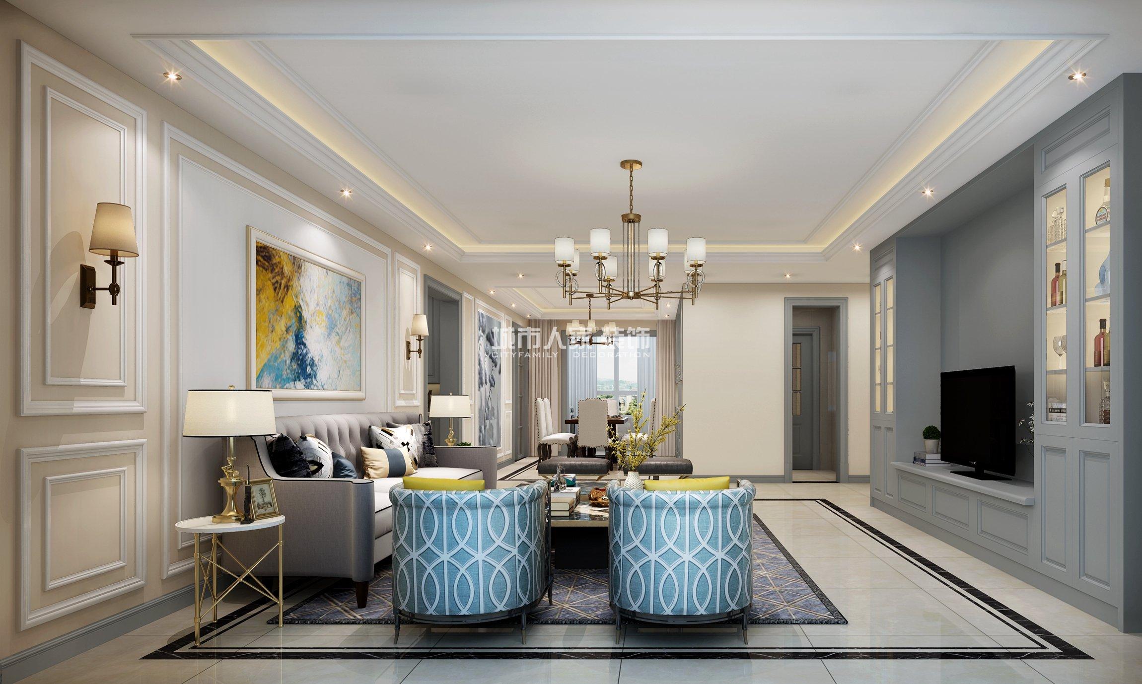 沙发背景墙做了美式线条造型,搭配抽象艺术画,简洁明晰又不失优雅.