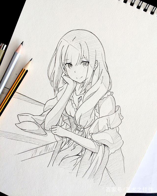 手绘动漫人物黑白稿,漂亮的美少女,好喜欢