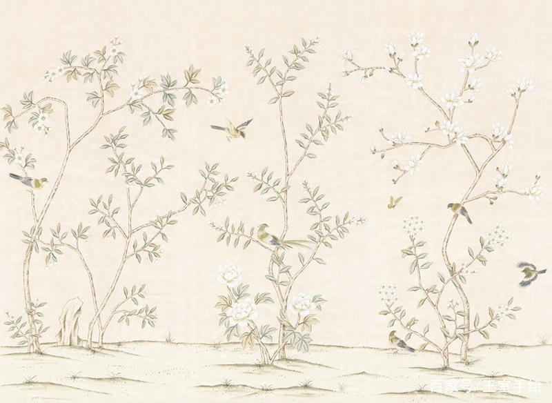 中国风手绘花鸟