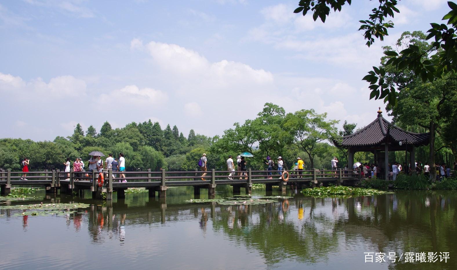 赏心悦目的雄伟杭州,风景优美,树木茂盛,美不胜收,美好的向往