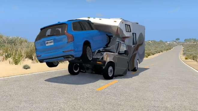 BeamNG:沃尔沃suv开足马力跳跃迎面冲向小房车,画面够酸爽