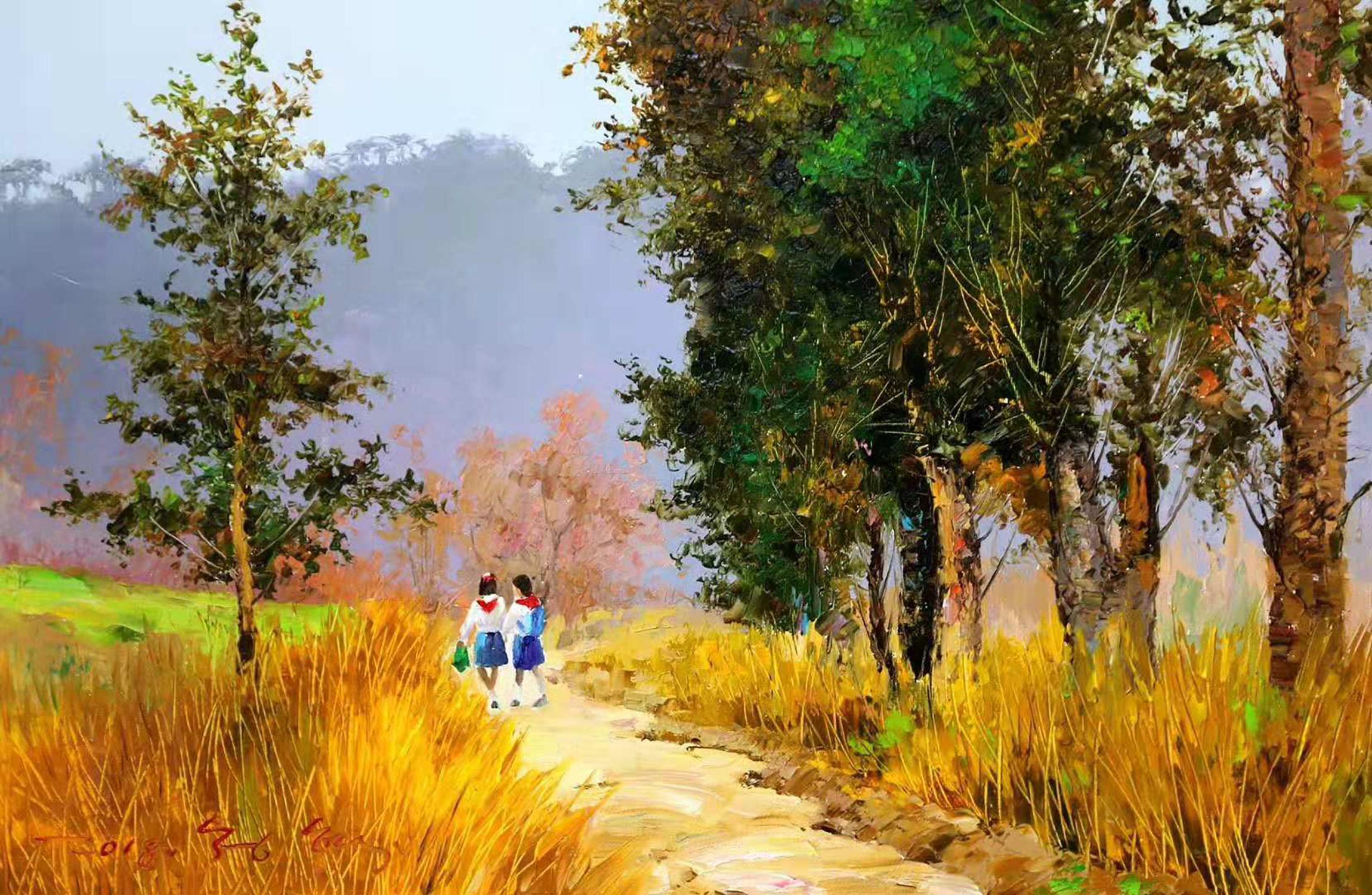 用油彩表現那條記憶中的泥路,油畫風景欣賞