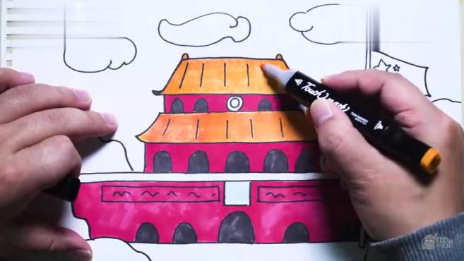 天安城门图片简笔画涂色早教视频