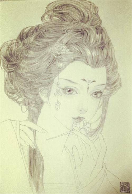 水彩绘古风美女,细腻温婉中带着一丝意境!