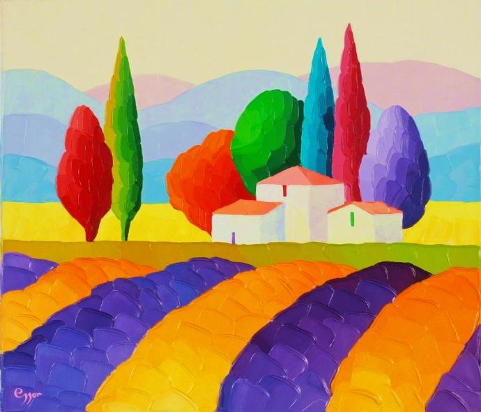 一組色彩鮮艷的風光繪畫作品 / 俄羅斯女畫家 sveta