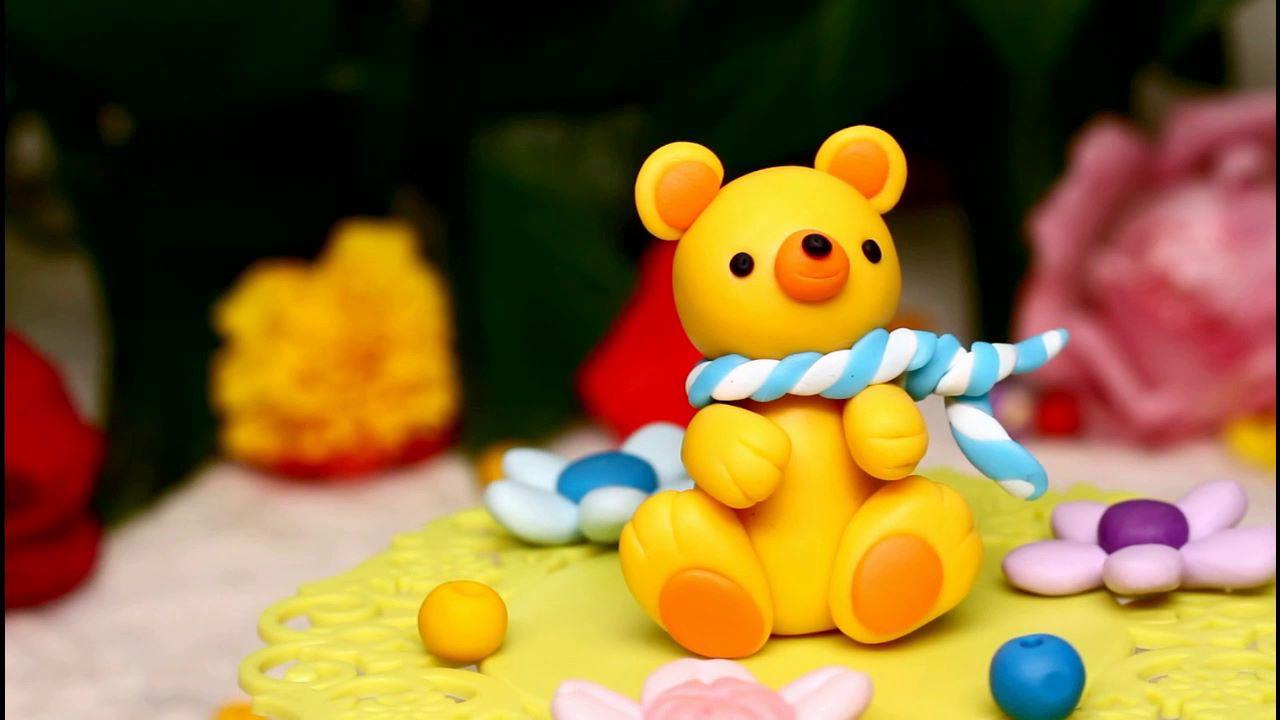 手工:呆萌可爱的软陶小熊,制作步骤简单,小孩儿也能