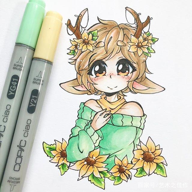 手绘马克笔卡通美少女,太可爱了