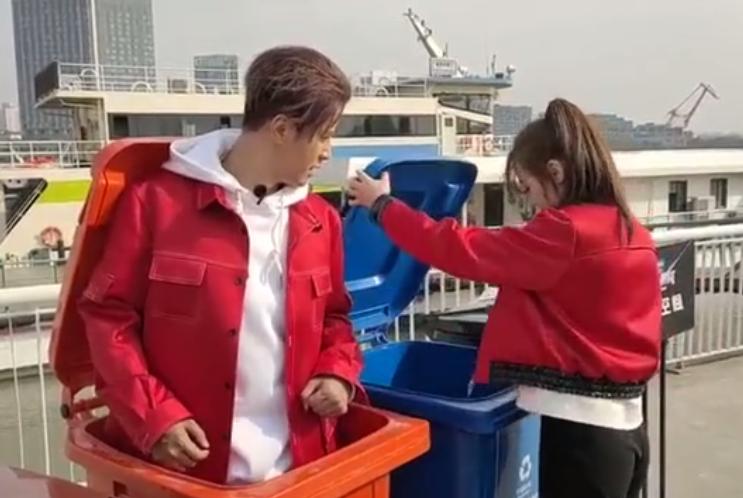 热巴录制节目乱丢瓶子,罗志祥从垃圾桶跳出来:小妹妹不是丢这里