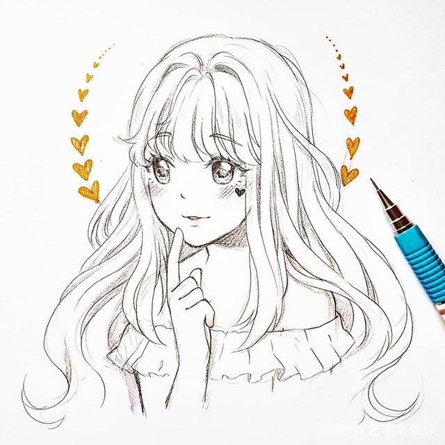 美少女手绘线稿,眼睛画的也太好看了吧