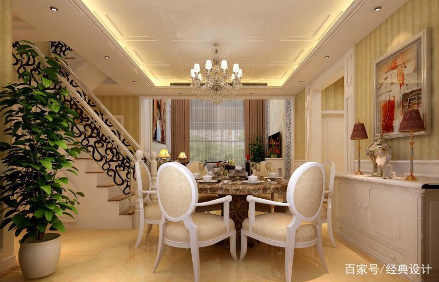高端大气|380平联排别墅简欧风格,挑空客厅设计彰显